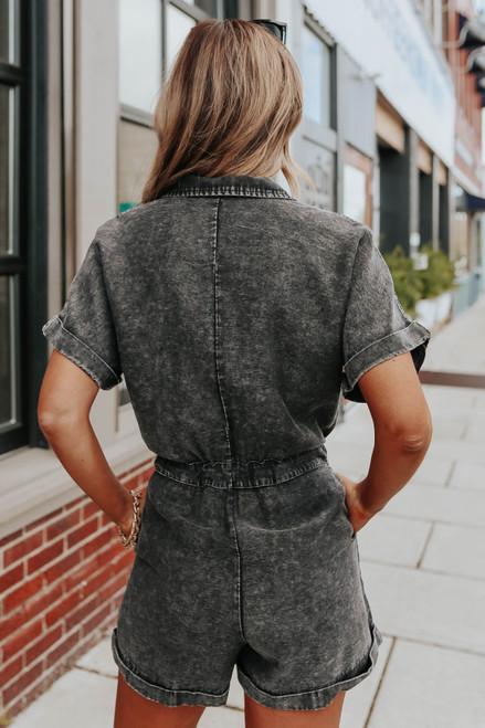 Short Sleeve Black Vintage Wash Romper