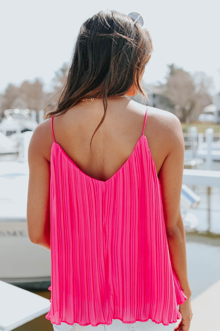 V-Neck Hot Pink Pleated Swing Tank
