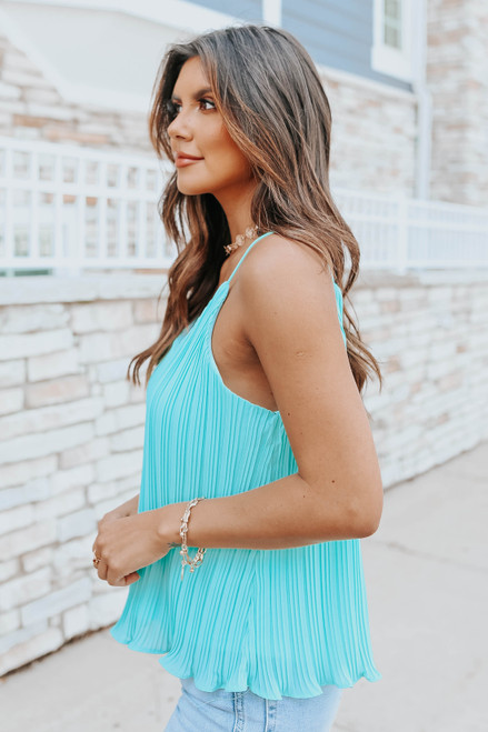 V-Neck Jade Pleated Swing Tank