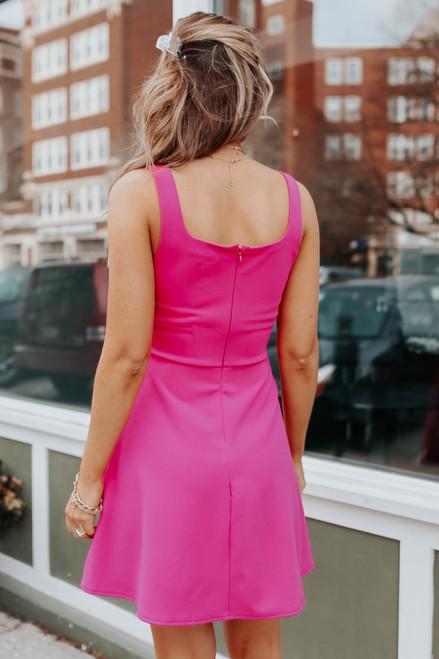 Square Neck Fuchsia Fit & Flare Dress