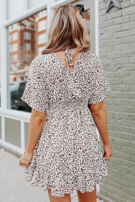 V-Neck Leopard Empire Kimono Dress