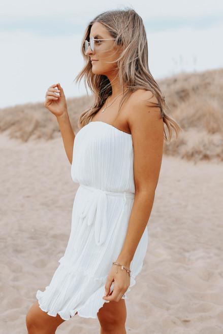 Strapless Tie Waist White Pleated Dress