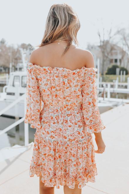 Orange County Off the Shoulder Floral Dress