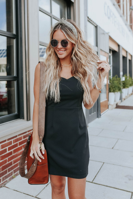 Love Game Sweetheart Black Bodycon Dress