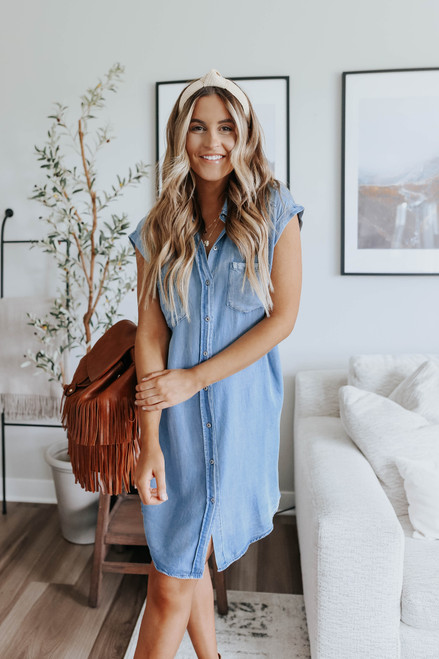 Cuffed Sleeve Button Down Chambray Dress