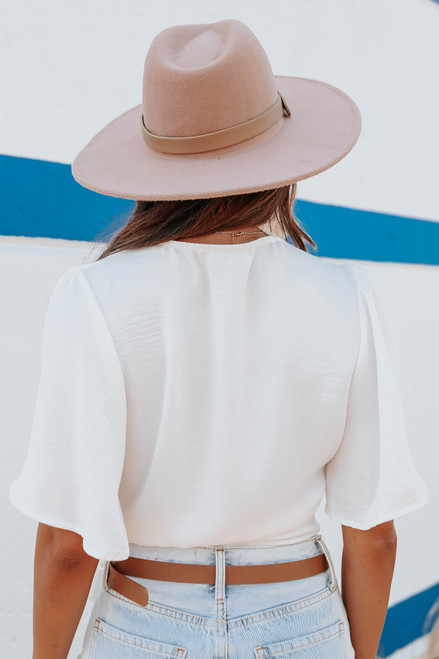 Short Sleeve Textured White Wrap Top