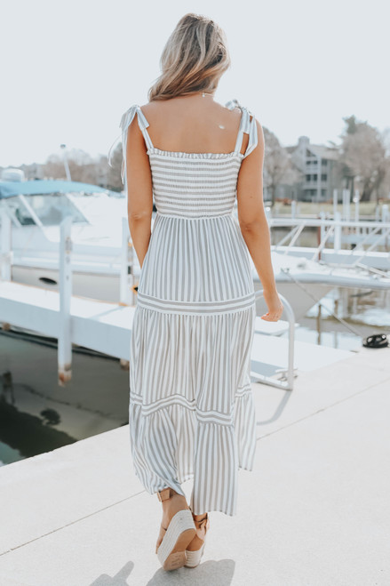 Tie Strap Smocked Charcoal Striped Maxi