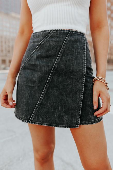 Faux Wrap Black Vintage Wash Skirt