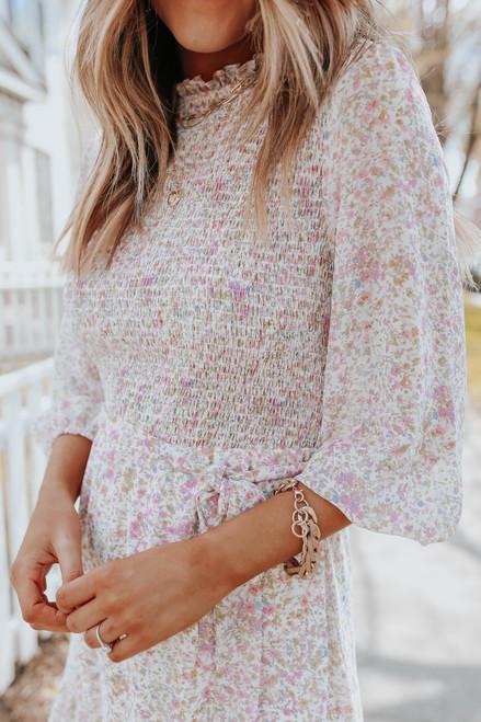 Mock Neck Smocked Tie Waist Floral Dress