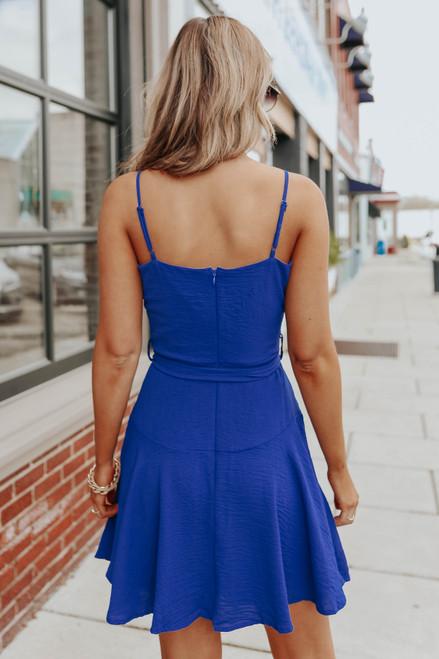 Draped Tie Waist Royal Blue Crinkle Dress
