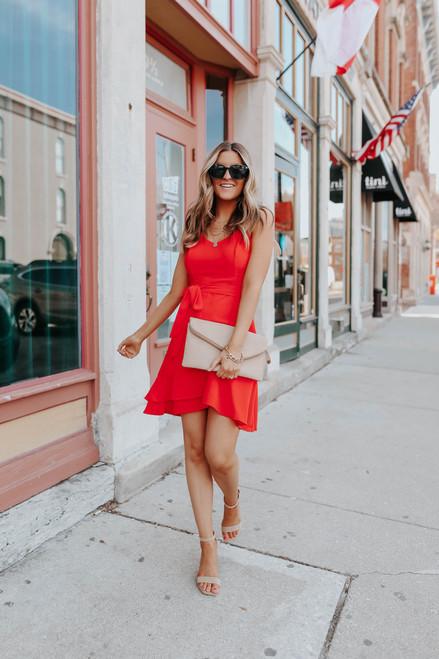 V-Neck Faux Wrap Red Tulip Dress