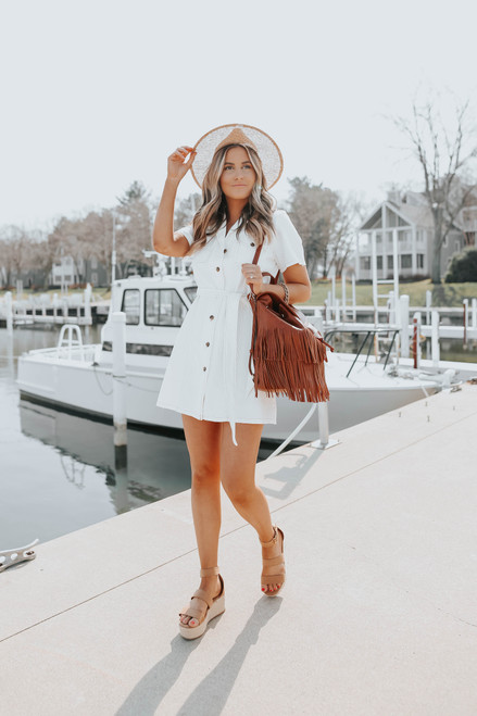 Button Down White Denim Dress