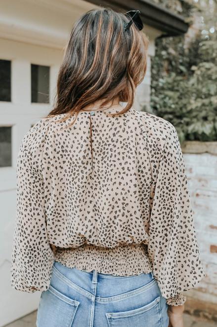 V-Neck Smocked Hem Leopard Top