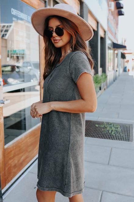 Short Sleeve Charcoal Ribbed Dress