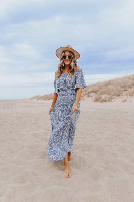Smocked Dusty Blue Floral Maxi Skirt