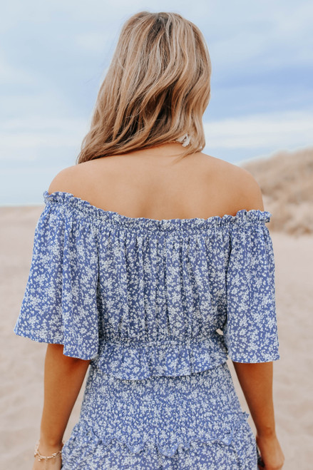 Off the Shoulder Dusty Blue Floral Top