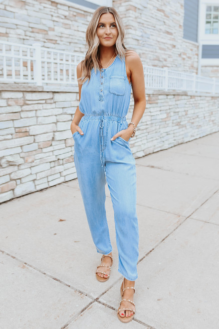 Button Down Faded Chambray Jumpsuit