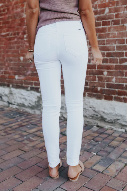 At Ease 5-Button White Skinny Jeans