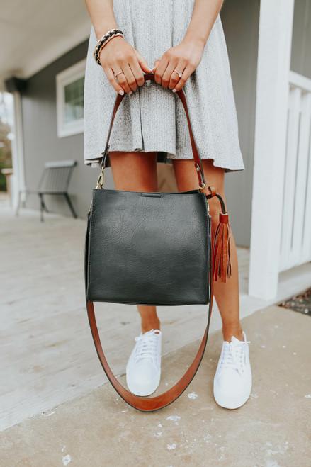 Nashville Faux Leather Black Bucket Bag