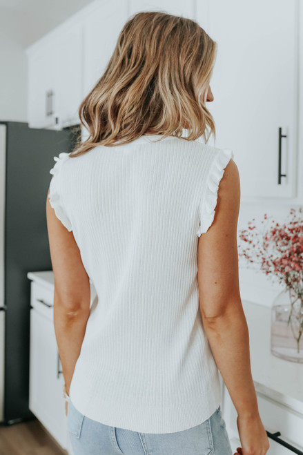 Ruffle Detail Ivory Ribbed Top