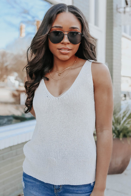 V-Neck Oatmeal Sweater Tank