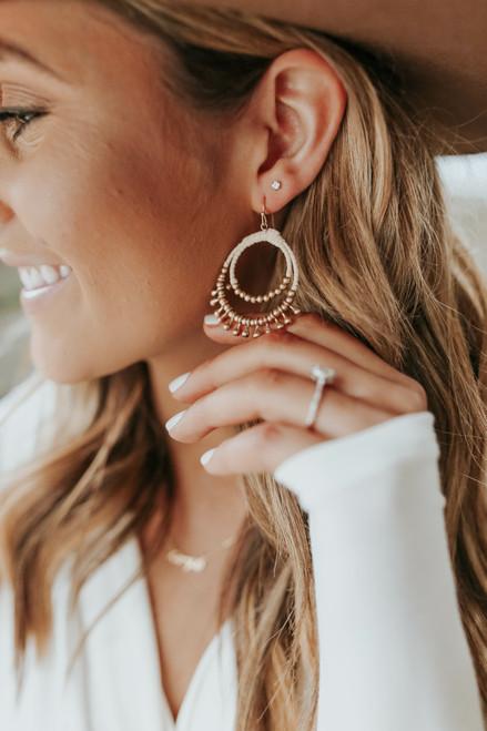 Wrapped Gold Beaded Earrings