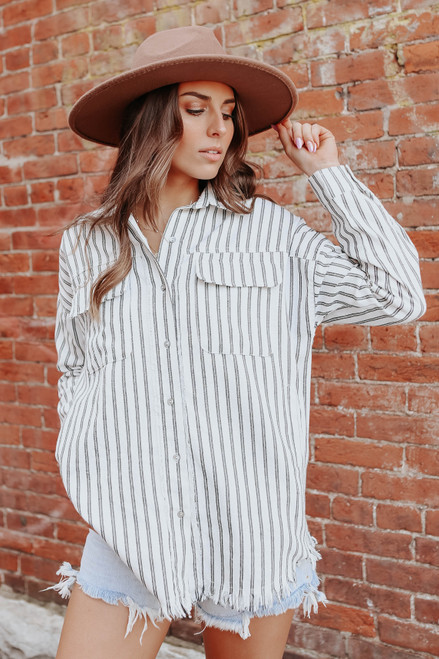 Winslet Button Down Frayed Pinstripe Shirt