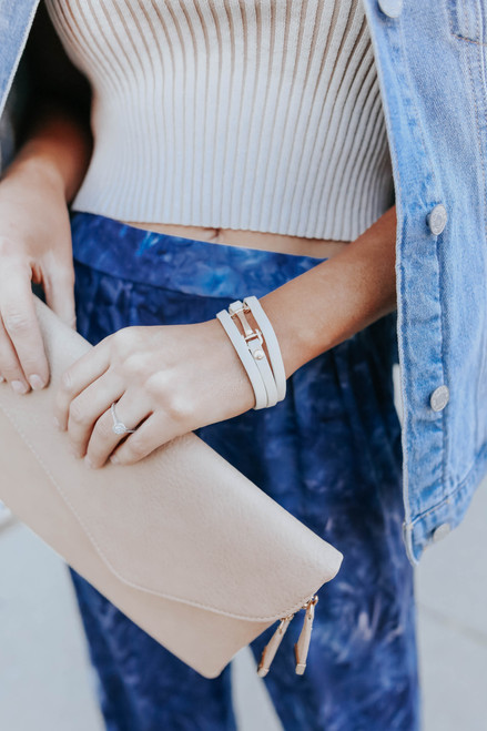 Upscale Leather White Buckle Bracelet