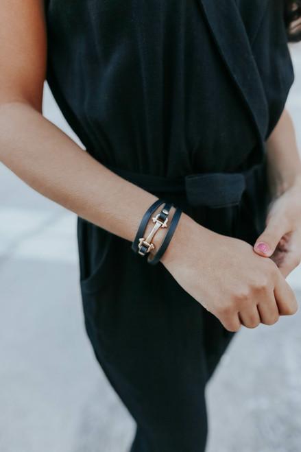 Upscale Leather Black Buckle Bracelet