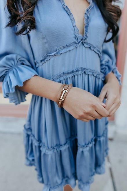 Upscale Leather Tan Buckle Bracelet