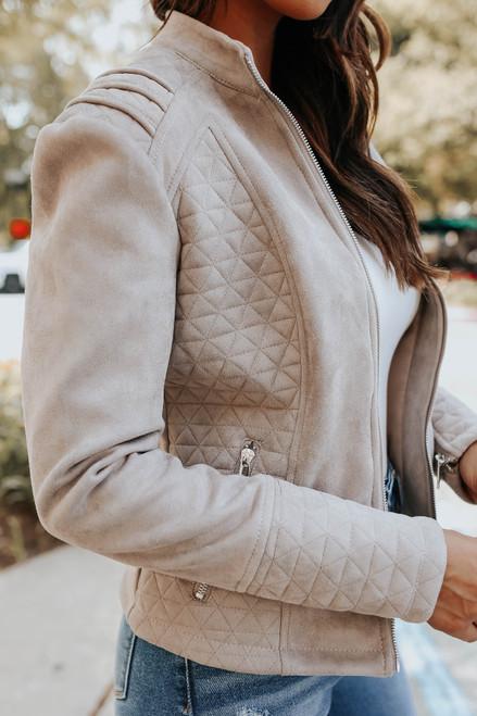 Sydney Vegan Suede Mocha Grey Quilted Jacket