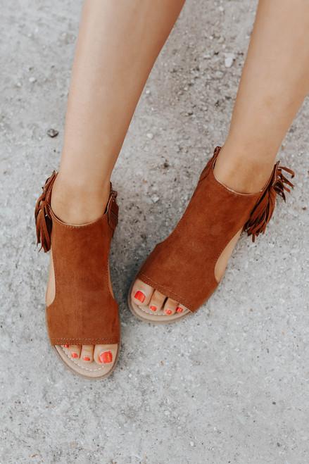 Not Rated Jas Dark Tan Fringe Sandals