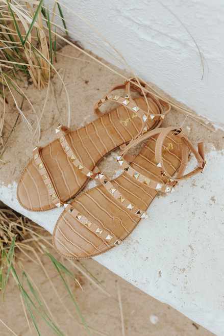Studded Toffee Strappy Sandals