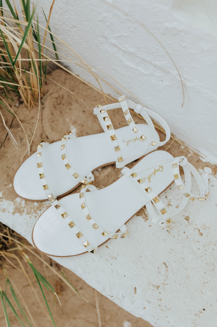 Studded White Strappy Sandals