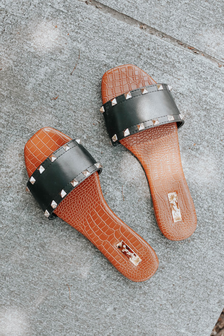 Rock With It Black Studded Sandals