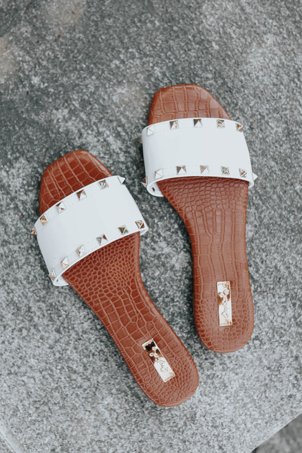 Rock With It White Studded Sandals