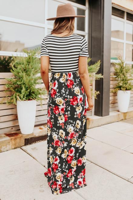 Short Sleeve Contrast Stripe Floral Maxi