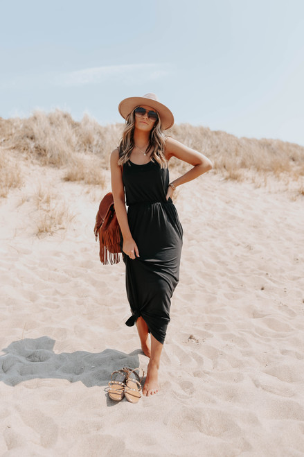 Port Side V-Neck Black Racerback Maxi