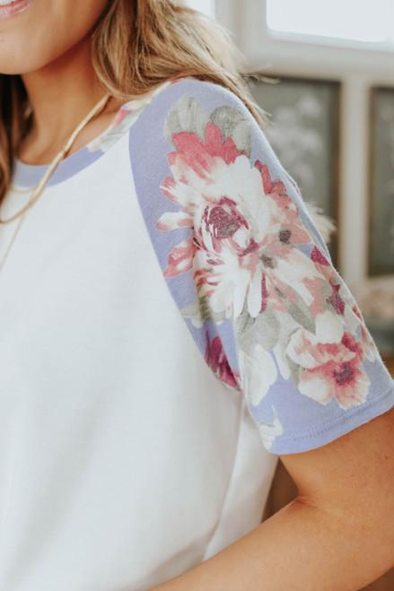 Maya Contrast Lilac Floral Raglan Tee