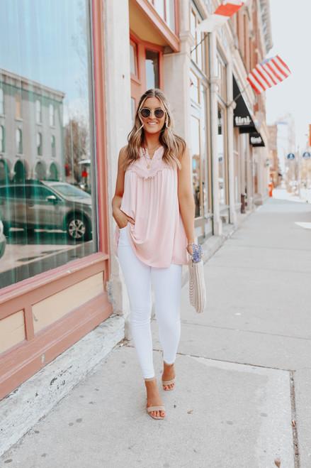V-Neck Sleeveless Blush Lace Detail Top
