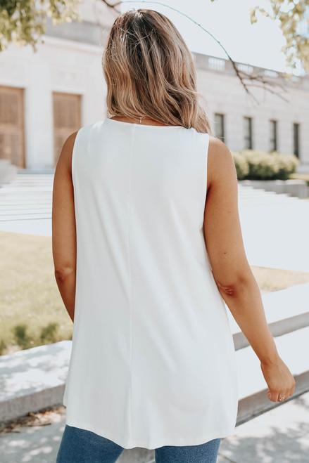 V-Neck Sleeveless White Lace Detail Top
