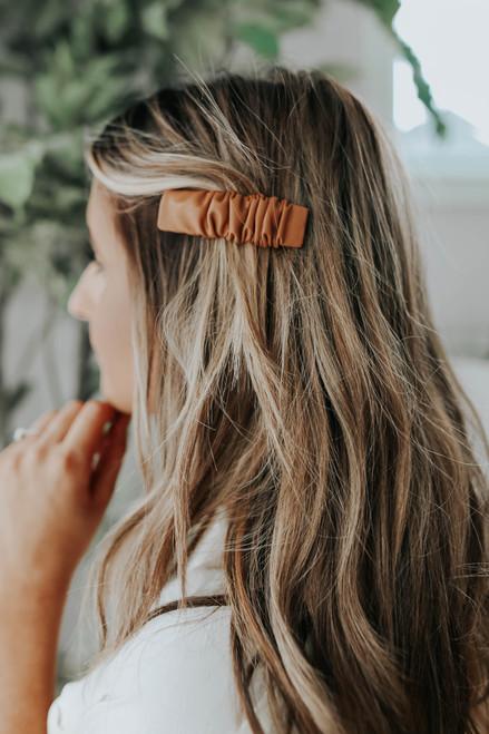 Faux Leather Hair Clip Set
