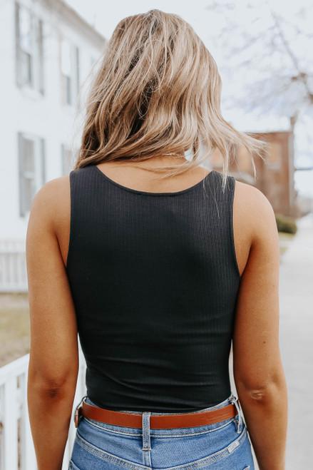 Brooklyn U-Neck Black Ribbed Bodysuit