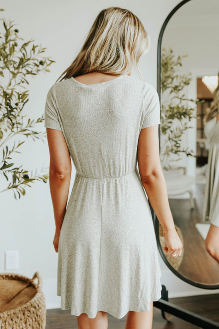Short Sleeve Surplice Olive Ribbed Dress