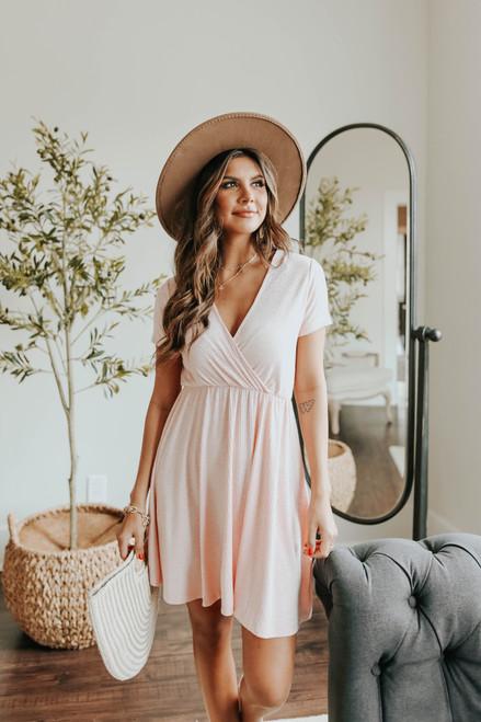 Short Sleeve Surplice Pink Ribbed Dress