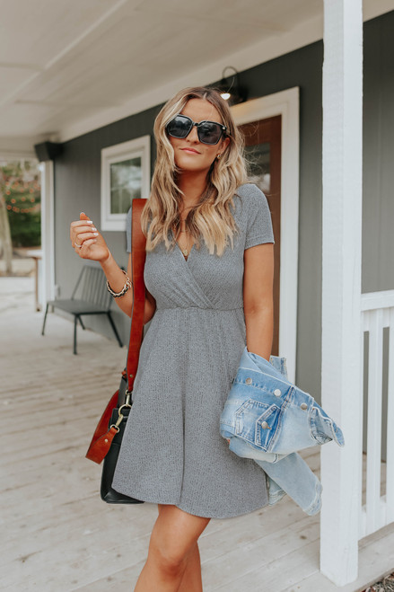 Short Sleeve Surplice Grey Ribbed Dress