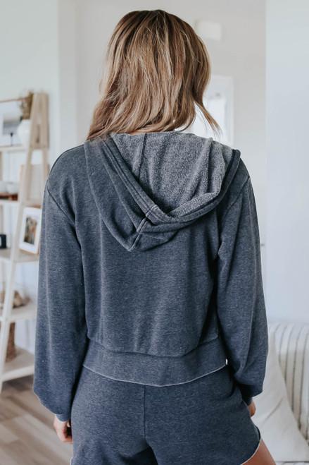 Hooded Faded Black Zip Up Fleece Jacket