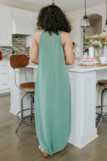 Amare Halter Dusty Teal Curved Hem Maxi