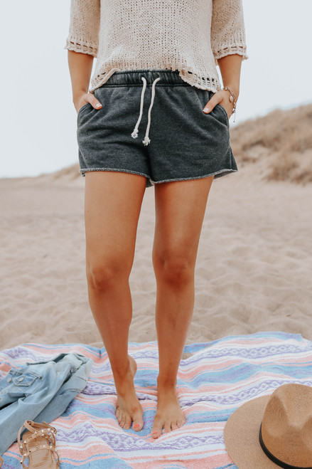 Drawstring Faded Black Fleece Shorts