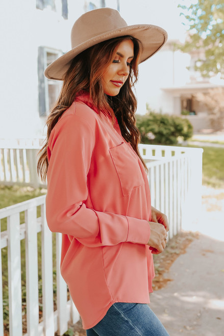 Button Down Coral High Low Shirt